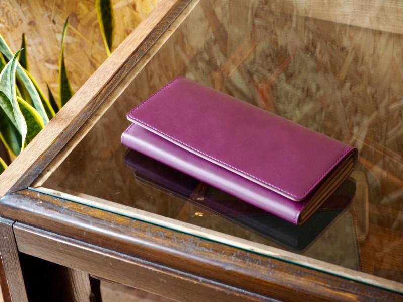 カスタムオーダー長財布(紫&グレー)