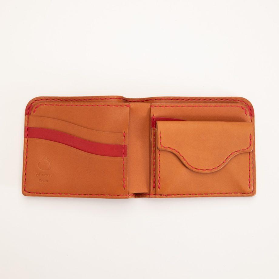 二つ折り財布 レッド