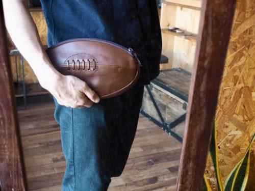 (オーダーメイド)ラグビーボール型クラッチバッグ