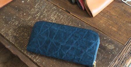 ゾウ革ラウンドファスナー財布