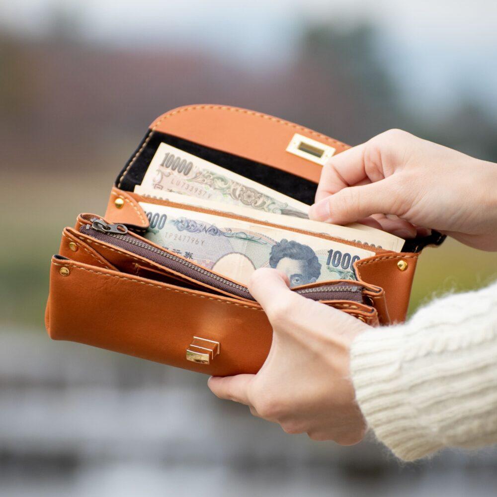 ひねり留め財布ポーチ